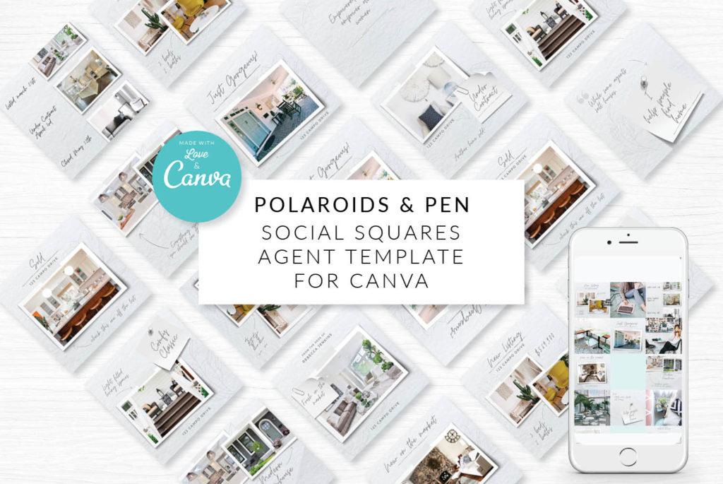 Polaroids & Pen Canva Template for Real Estate Marketing Posts