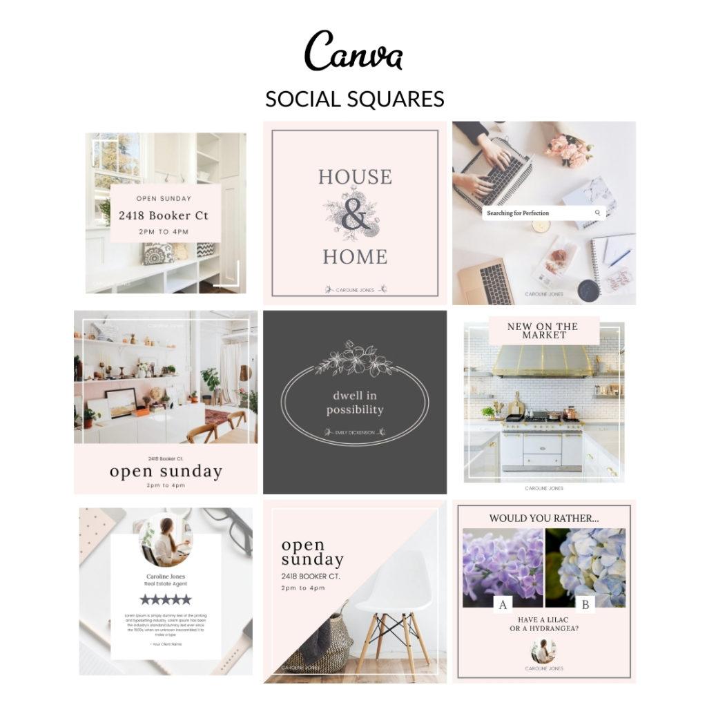 Caroline Loves Pink Social Squares