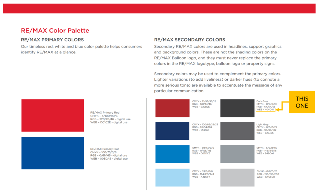 real estate marketing brokerage brand colors remax brand guide